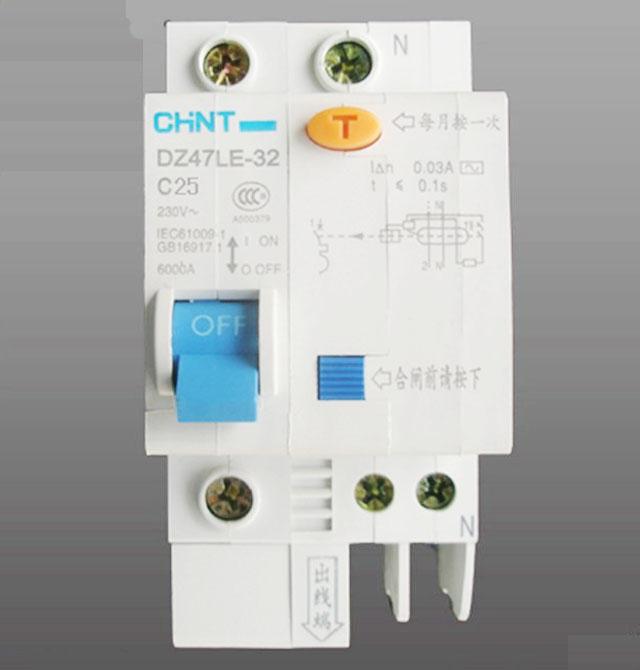 正泰断路器空气开关 dz47le-32 c型 1p n 25a 剩余电流动作断路器