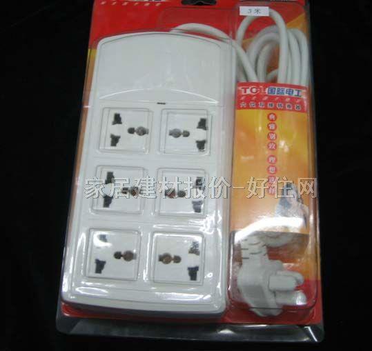 tcl-罗格朗电源转换器/插排板 k9407 6×三极 有线 无开关 3米