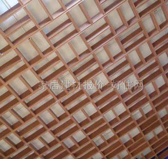 【鲁卡格栅天花_150×150mm格栅木顶艺术中式窗格py