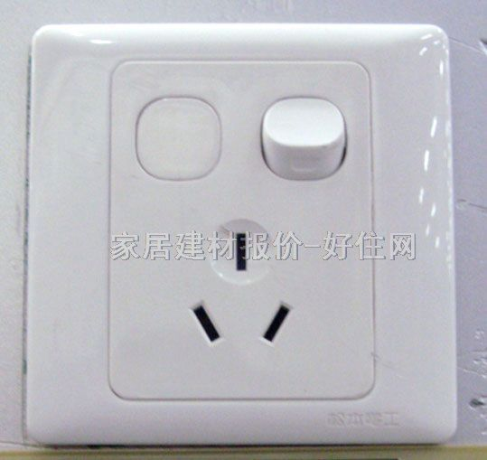 单控白色;; 带开关插座面板图片介绍;