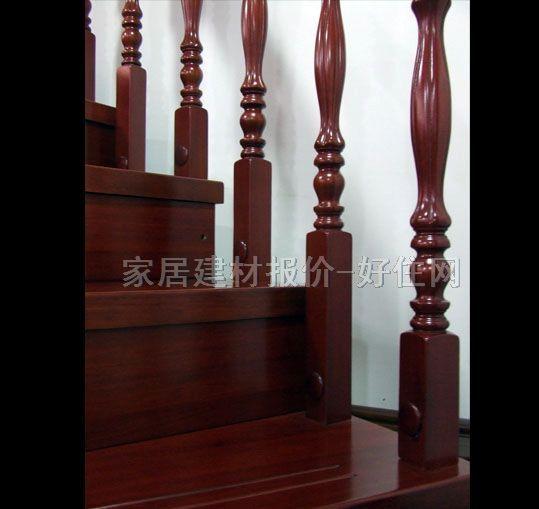 明丰 实木楼梯 红檀香 实拍图片 楼梯及楼梯配件,常规楼梯