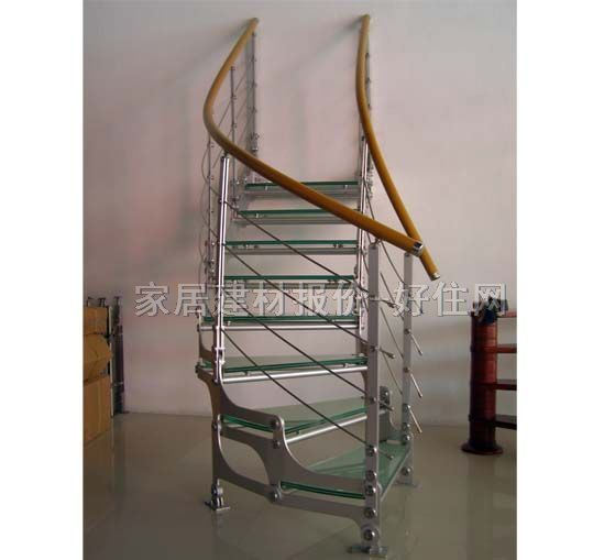 正高室内楼梯 玻璃踏步钢结构zg-9003 c型 订做