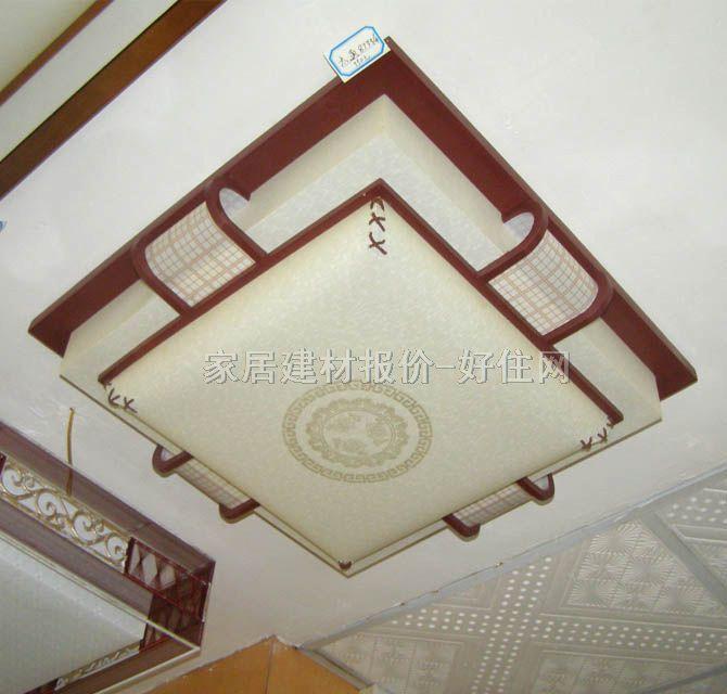 书房起居室吸顶灯8733/中 方形 古典传统风格 白底带图案羊皮纸