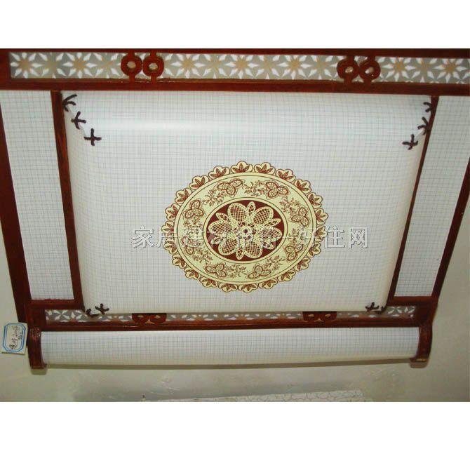 书房起居室吸顶灯2006/中 方形 古典传统风格 白底带图案羊皮纸