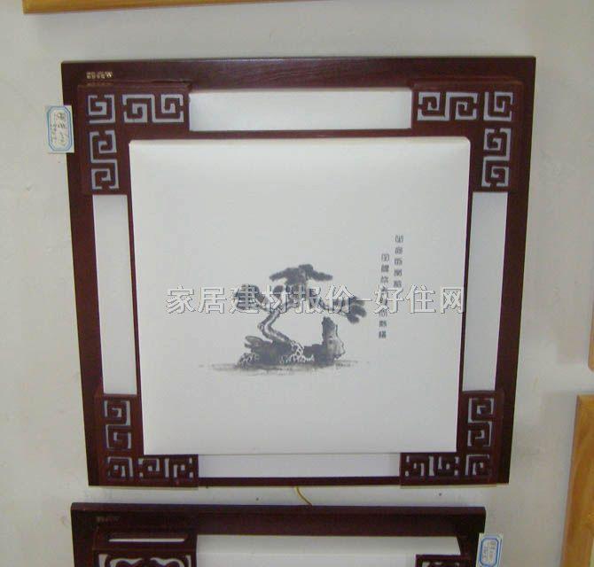 书房起居室吸顶灯6047 方形 古典传统风格 白底带图案羊皮纸