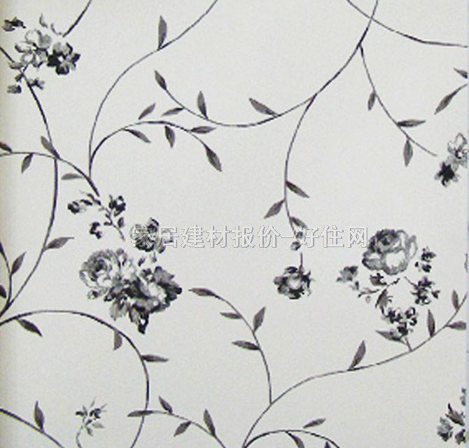 雷克萨斯墙纸 欧式风格黑白小花lx-6705 宽530mm×长10米 花 白色