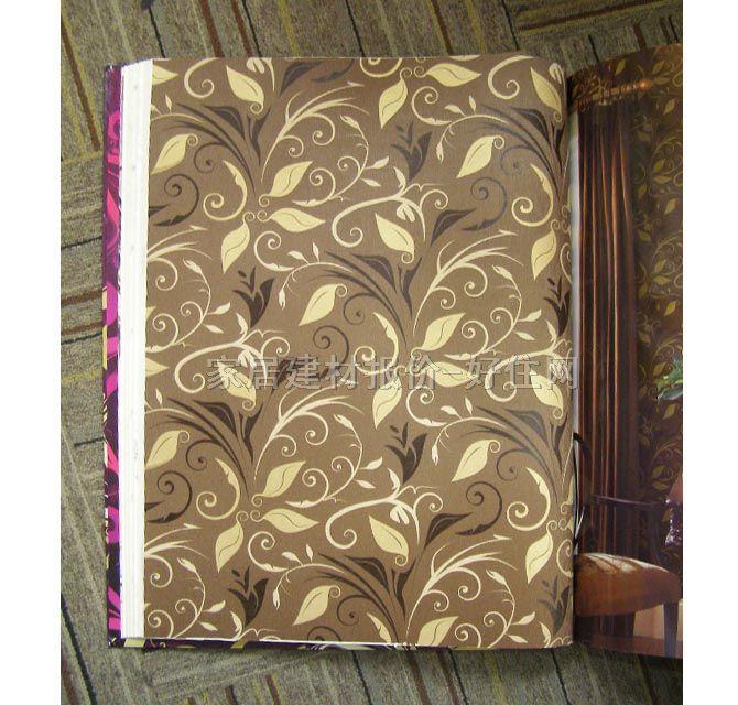 墙纸豪华风格灰色花纹宽530mm×长10米叶纹棕色
