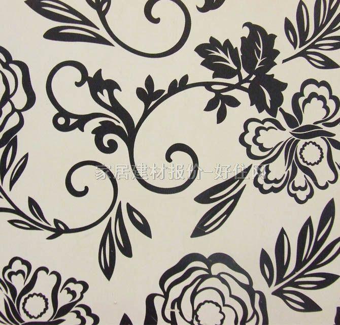 泰特墙纸 淡雅风格黑白小花51051 宽530mm×长10米 花 白色 黑色