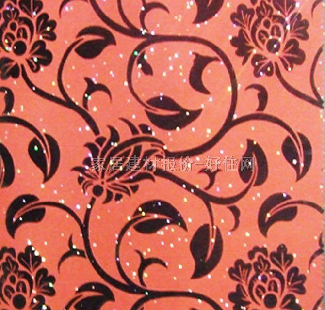 泰特墙纸 bl-2232红黑色藤蔓 1.38×50m 绒面pvc底 花 红色图片