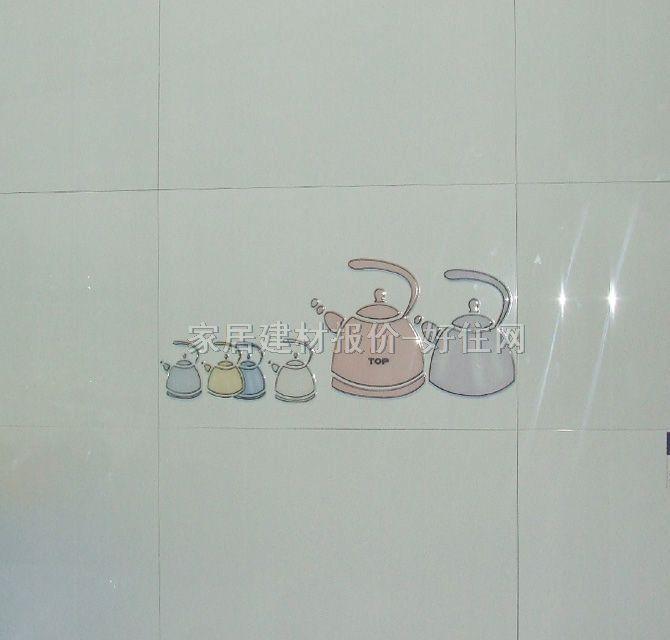 钻石墙面砖 抛光砖浅灰色纯白餐具图案花纹 300mm× 450mm