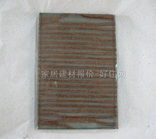 夹丝夹层玻璃 棕红色花纹 5+5mm