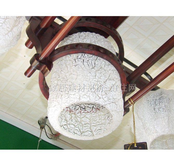 香山木吊灯 md6-066 木质灯架 磨砂玻璃灯罩 传统复古风格 520×500mm