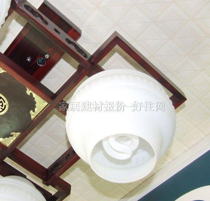 香山木吊灯 md4-043 木质灯架 磨砂玻璃灯罩 传统复古风格 540×540mm