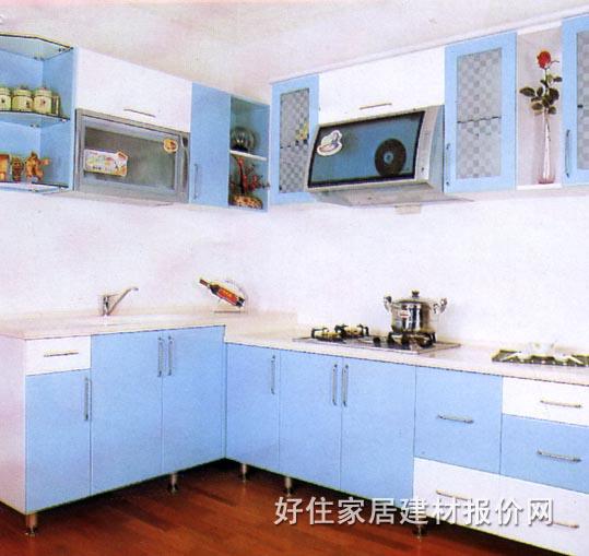浅蓝色厨房卡通背景